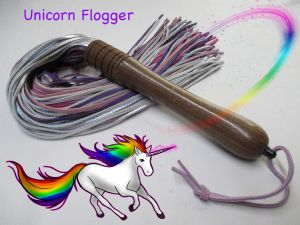 Unicorn Coloured Leather/Wood Flogger